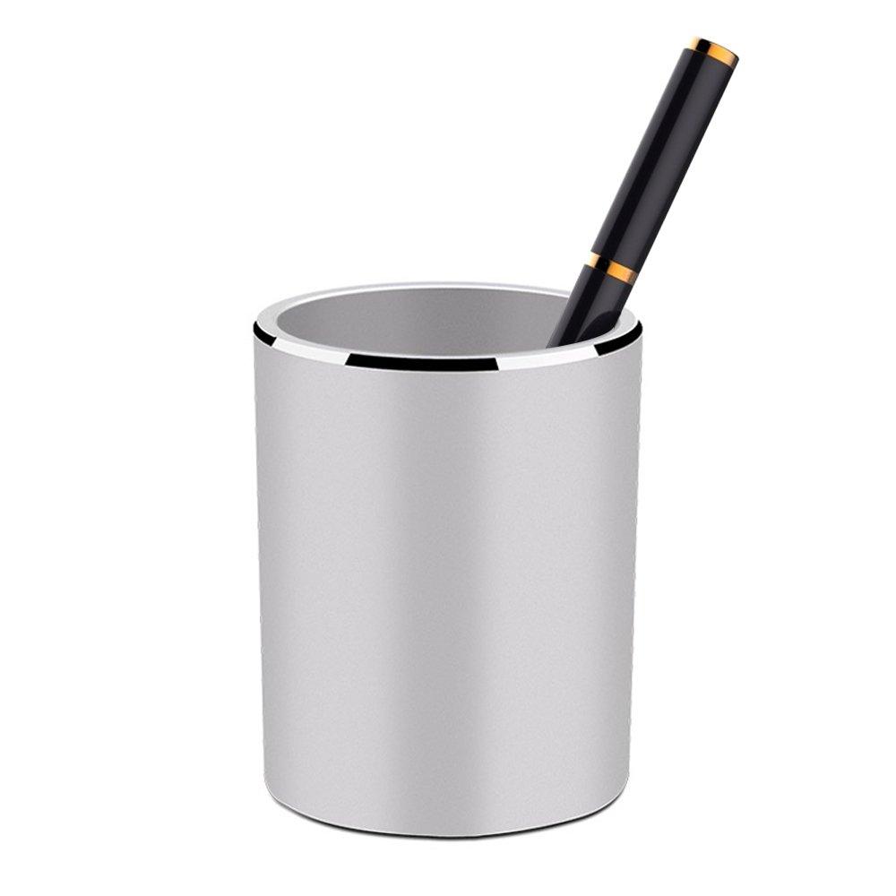 YOSCO Aluminum Desk Pencil Holder Multi Purpose Use Pen Cup Stationery Supplies Organizer for Home School Office (Silver)