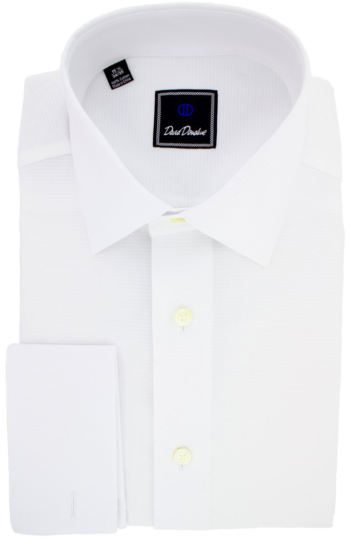 David Donahue Horizontal Rib Regular Fit Tuxedo Dress Shirt - Size 16.5, 34/35
