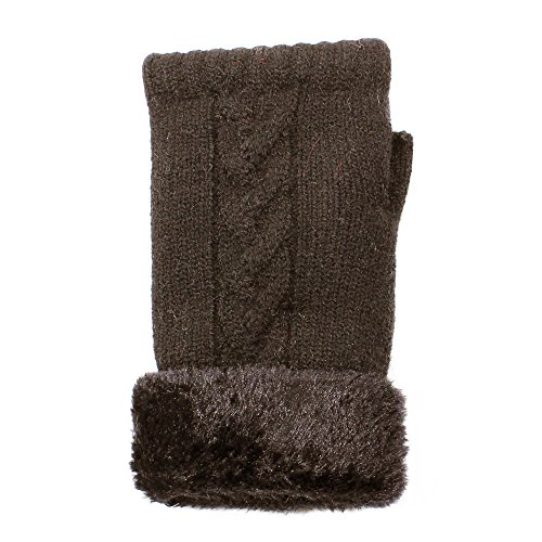 Ll  Womens Winter Knit Fingerless Fashion Gloves Fleece Lined Assorted Patterns And Colors  Brown Cable