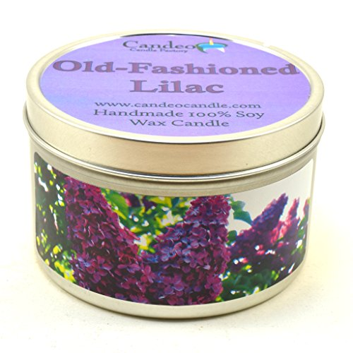Old-Fashioned Lilac, Super Scented Soy Candle Tin (6 oz) by Candeo Candle (Image #3)