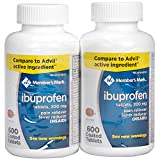 Member's Mark Ibuprofen Coated Tablets 200mg Pain Reliever Fever Reducer Nsaid (2 Bottles (1200 Tablets))
