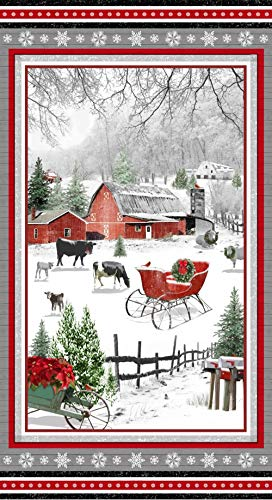 Holiday Homestead Christmas Panel by Jan Shade Beach from Henry Glass 100% Cotton Quilt Fabric 1611P-089-24