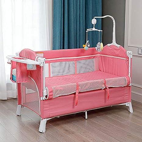 DaPeng Cuna Plegable Cuna de Empalme Gran Cama Multifuncional port/átil Cama para beb/és Cama Cuna del reci/én Nacido,A