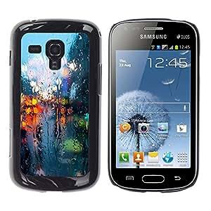 Qstar Arte & diseño plástico duro Fundas Cover Cubre Hard Case Cover para Samsung Galaxy S Duos / S7562 ( Rainy Street Lights Reflection City Somber Spring)
