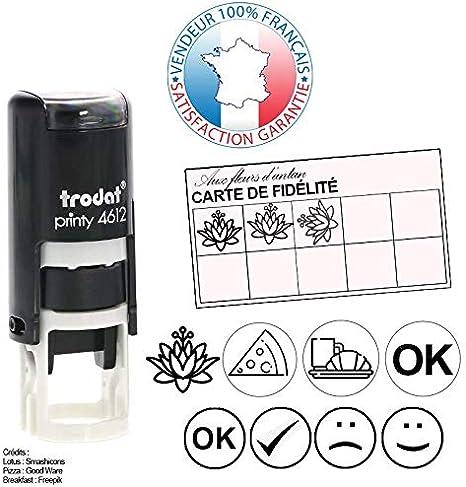 TRODAT PRINTY 4921 EMPREINTE OFFERTE Tampon encreur cartes de fid/élit/é 12 x 12 mm 2 lignes