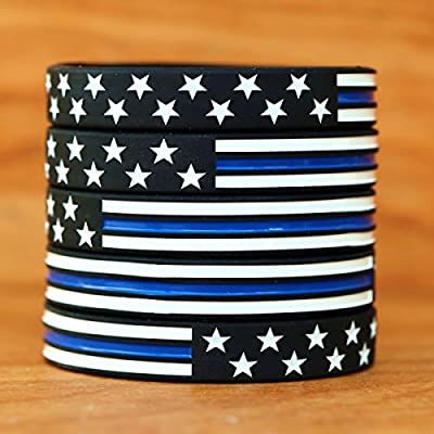 Stars and Stripes Flag with Thin Blue Line Wristband Set (from 1 to 100 bands)