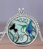 Hummingbird-Jewelry--Blue-Hummingbird-20mm-Necklace--Includes-18-Chain--Hummingbird-Jewelry--Bird-Art--Charm-P
