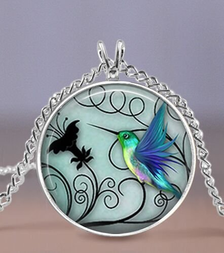 (Hummingbird Jewelry - Blue Hummingbird 20mm Necklace - Includes 18