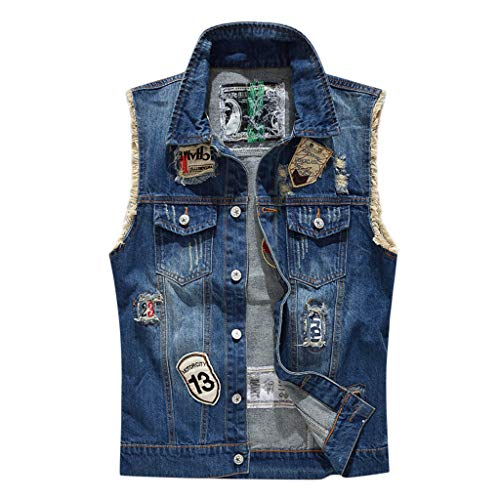 Mens Casual Button-Down Denim Vest Trucker Cowboy Jean Jacket Holes Tops (Best Mens Flannel Shirts 2019)