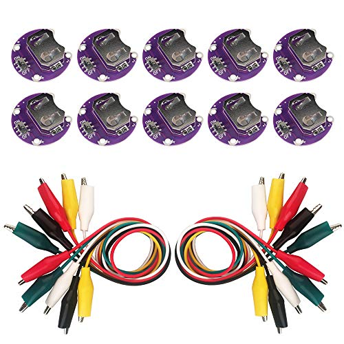 10x Lilypad Coin Cell Battery Holder with On/Off Switch + Alligator Clips Test Lead (10x Lilypad Battery Holder) (Lilypad Coin Cell Battery Holder)