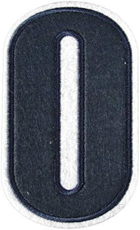 アイロンワッペン 数字 紺 0