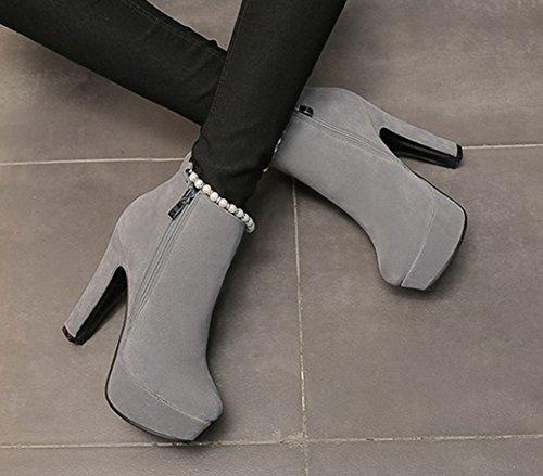 Ankle Booties Boots With Womens Zip Toe Gray Round Heel Beaded Chunky Inside Elegant Zipper Up Aisun Short Platform High HA4wq6qZ