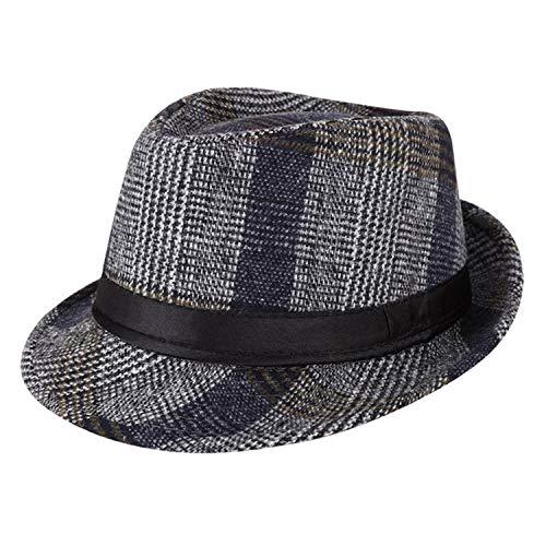 - DOSOMI Men Plaid Winter Warm Fedora Cotton Jazz Hat Men Casual Bucket Hats,Blue Fedora,56-58 cm