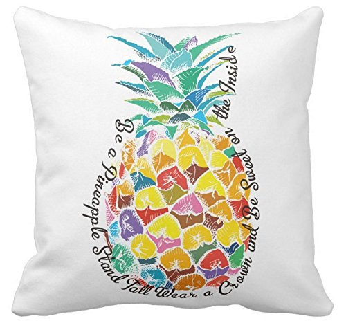 Decorative Desk Chairs - Kissenday 18X18 Inch Be a Pineapple Stand Tall Wear a Crown and Be Sweet on the Inside Quote Cotton Polyester Decorative Home Decor Sofa Couch Desk Chair Bedroom Car Gift Square Throw Pillow Case