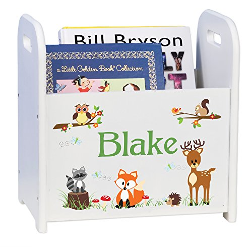 MyBambino Personalized Child's Book Caddy Magazine Rack- Woodland Animals