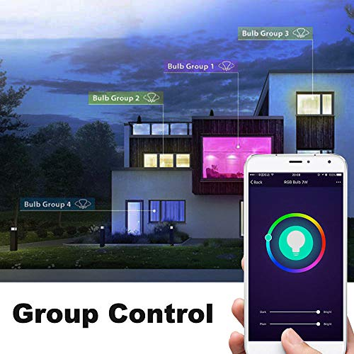 Smart Light Bulb,LED WiFi Light Bulbs,Dimmable Multicolored LED Light Bulbs,Smartphone Controlled Daylight & Night Light,Works with Google Assistant/IFTTT,7W Home Lighting, E27 Base by Foreet (Image #4)