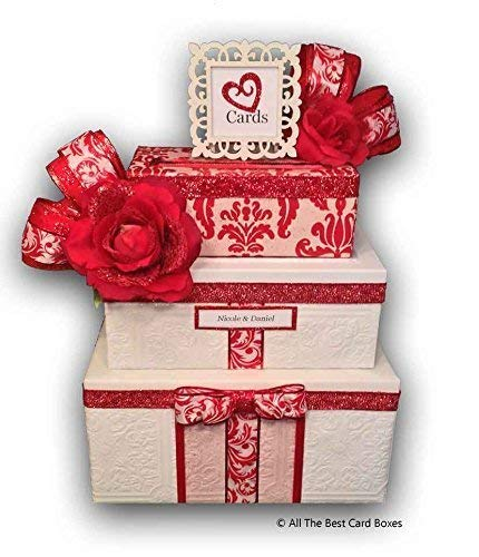 (Red Roses Wedding Card Box, Handmade, Personalized, card box with slot, 3 tiers, holds 250 cards, All The Best Card Boxes)
