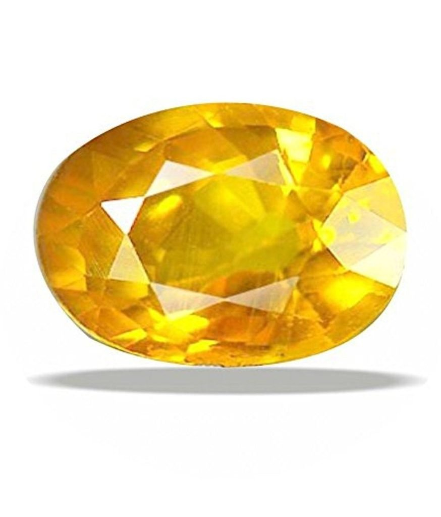 Natural Certified Gemstone Yellow Sapphire - Pukhraj 7 Ct. A Good Quality Gem Stone by GEMS HUB