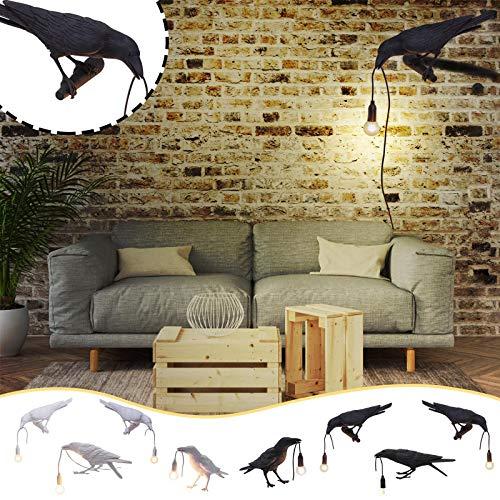 SAINGACE Raven Creative Lights Crow Wall Lamp Bird Movable Resin Nordic Table Lamp Energy Saving Lamp Crow Table Lamps Wall Lamps for Bedroom, Toilets, Entrances, Balconies, Home Decor (2# White)