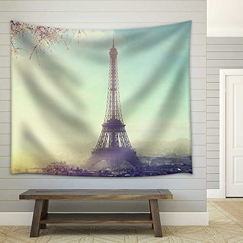 Aerial View of Paris Cityscape with Eiffel Tower at Sunset Vintage Colored Picture Business Love and Travel Concept Fabric Wall