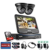 SANNCE 4 Channel 1080P Lite Surveillance DVR Kits with (2) HD 720P Outdoor Dome CCTV Cameras and 1TB Hard Drive, 10inch LCD Monitor,Smartphone Access, Motion Detect,Email Alert For Sale