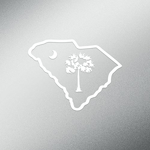 DD557 Palmetto Tree South Carolina Decal Sticker | 5.5-Inches Wide | Premium Quality White Vinyl