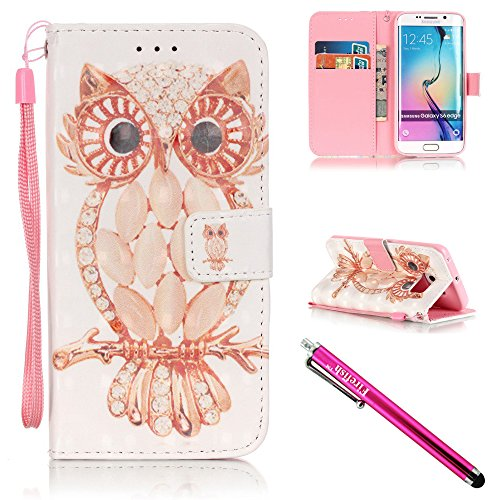 Price comparison product image Galaxy S6 edge Case, Firefish [Kickstand] PU Leather Flip Purse Case Slim Bumper Cover with Lanyard Magnetic Skin for Samsung Galaxy S6 edge + including One Stylus-Owl