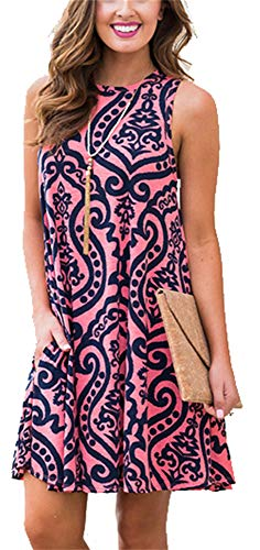 (Summer Beach Dresses for Women Tshirt Sundresses Boho Casual Sleeveless Floral Shift Pockets Swing Loose Damask Watermelon Red Large)
