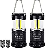 Gold Armour Brightest Camping Lantern (EMITS 350 LUMENS!) LED Lantern - Camping Equipment Gear Lights for Hiking, Emergencies, Hurricanes, Outages, Great Gift Set (2Pack Black)