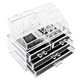 Lovinland Cosmetics Box, Acrylic Cosmetics Storage Rack with 4 Drawers Transparent