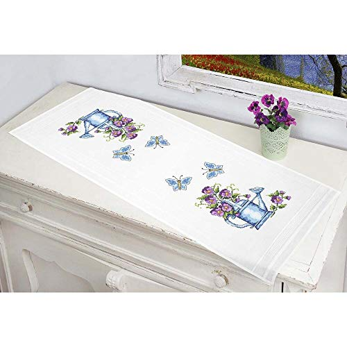 Duftin Watering Pot Table Runner Stamped Cross-Stitch