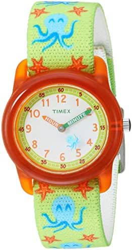 Timex Boys TW7C13400 Time Machines Analog Green/Orange Octopus Elastic Fabric Strap Watch