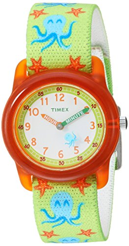 Boys Acrylic Watch (Timex Boys TW7C13400 Time Machines Green/Orange Octopus Elastic Fabric Strap Watch)