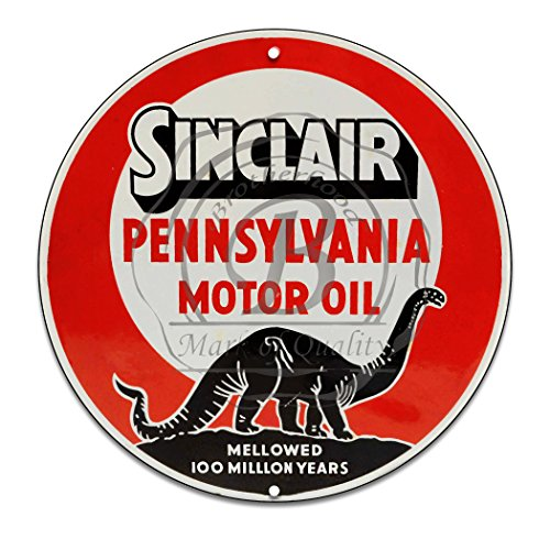 Vintage Gas Signs Reproduction Car Company Vintage Metal Signs Round Metal Tin Sign For Garage & Home Decor (Sinclair Motor Oil Red) (Gas Sinclair Oil)