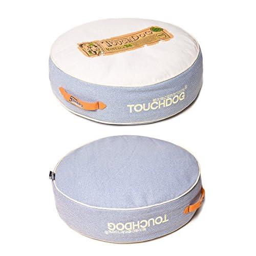 delicate Touchdog Original Surround-View Classical Denim-Toned Plush Raised Dog Bed