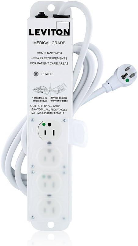 15-Amp 15-Feet Cord Length 125-volt Leviton 5304M-1N5 Medical Grade Power Strip 4 -Outlets