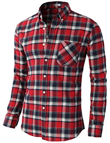 H2H Mens Slim Fit Flannel Plaid Patterned Loghtweight Shirts