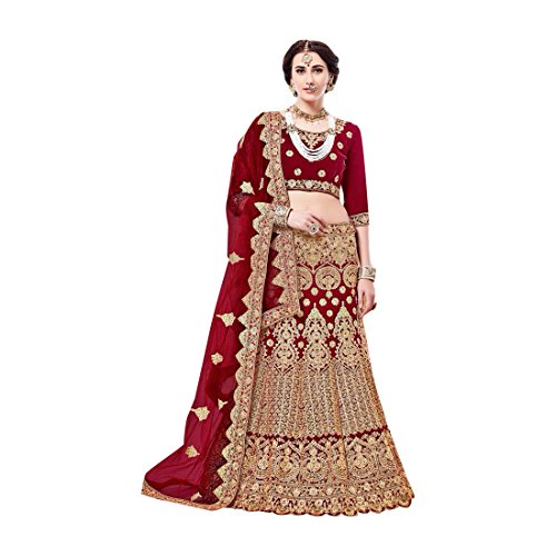 Dark Red Velvet Roter Samt schwere Stickerei Lehenga Choli Rock Top ...