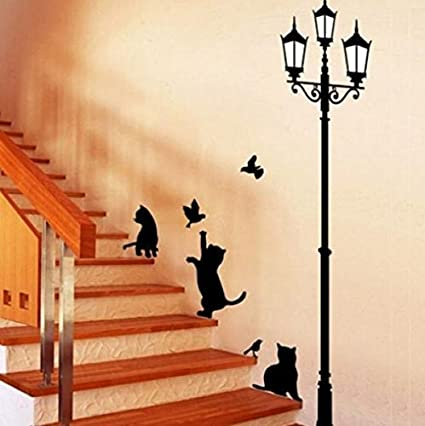 Wallpapers 2019 Fashion Popular Ancient Lamp Cats And Birds Wall Sticker Wall Mural Home Decor Room Kids Decals Wallpaper