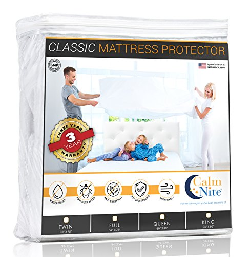 CALM NITE Twin Size Mattress Pad Protector - Waterproof & Hypoallergenic Cover, Vinyl Free Topper - Machine Washable (Waterproof Twin Mattress Pad)