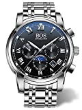 BOS Men's Quartz Analog Wrist Watch Chronograph Stainless Steel Band Black 8008