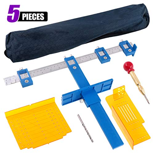 Swpeet 5Pcs Cabinet HardwareJig Kit, Including Adjustable Punch Locator Tool and Automatic Center Hole Punch with Precision Allignment Template and Drill for Mounting Template Installation