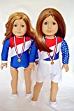 GYMNASTICS OUTFIT FOR AMERICAN GIRL DOLLS COMPLETE WITH SHOES-MEDAL-WRIST GUARDS-PON TAIL HOLDER AND SHORTS