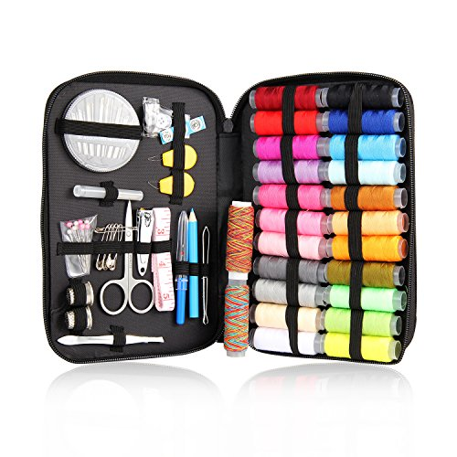 Mega Shop Sewing Kit Craft Tools Supplies 94 Pcs Bag Enhanced Needles Cross Stitch Assorted Threads Basic Suitable For Home Travel And Emergency Use