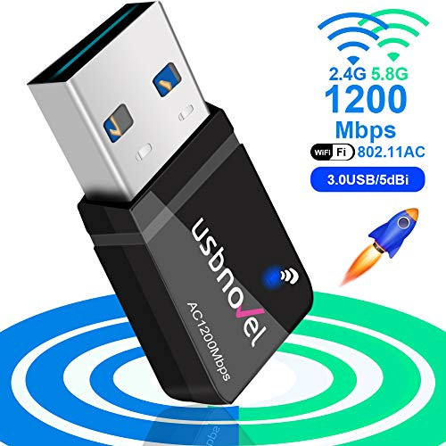 WiFi Adapter for Gaming 1200Mbps,USB 3.0 Newtork Wireless Adapter 2.4G/5G 802.11ac WiFi dongle with 5dBi Antenna for PC/Desktop/Laptop Windows XP/Vista/7/8/10 Mac 10.6-10.15