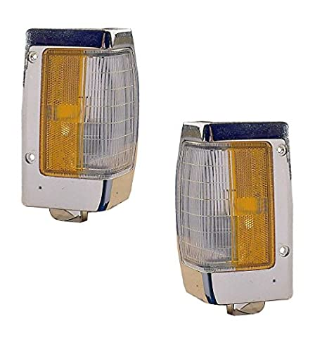 1990-1997 Nissan D21 Hardbody Pickup Truck Turn Signal Marker Lamp (with Chrome Trim) Corner Park Light Pair Set Left Driver And Right Passenger Side (1990 90 1991 91 1992 92 1993 93 1994 94 1995 95 1996 96 1997 - Turn Signal Park Light Lamp