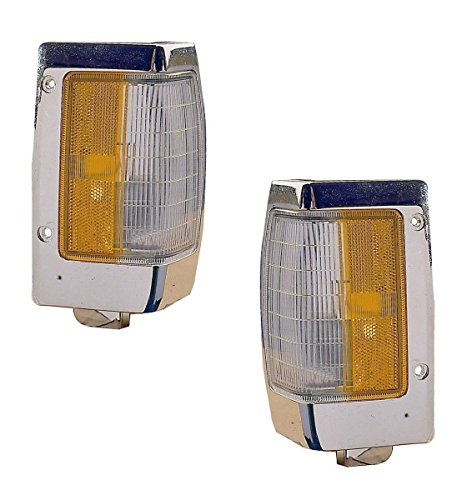 1990-1997 Nissan D21 Hardbody Pickup Truck Turn Signal Marker Lamp (with Chrome Trim) Corner Park Light Pair Set Left Driver And Right Passenger Side (1990 90 1991 91 1992 92 1993 93 1994 94 1995 95 1996 96 1997 97)
