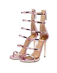 FSJ Women Gladiator Sandals Open Toe Pumps High Heels Shoes Strappy Buckle Stilettos Size 4-15