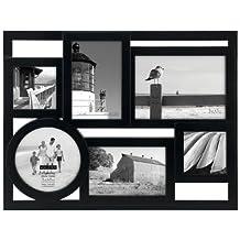 Malden International Designs Mondrian Black Wood Puzzle Collage Multi-Opening Picture Frame