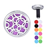 Car Air Freshener Aromatherapy Essential Oil Diffuser Vent Clip Stainless Steel Locket with 12 Felt Pads